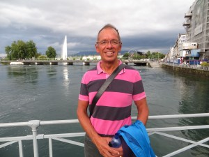 Posing in front of a huge fountain in Lake Geneva