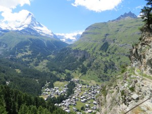 One last shot of the Matterhorn, with Zermatt spreading out at the foot. The town is a *lot* bigger than when I was here in 1976.