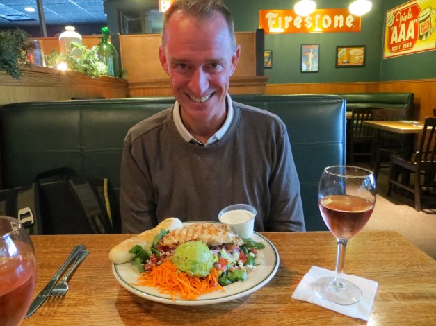 Our first lunch up north at Grandma's. The salad was huge. The wine was big. Everything here is big!