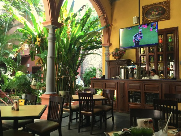 This cute little restaurant was Sunday lunch. Great courtyard, great Mayan food, beautiful wooden bar - and the Detroit Lions in the background!