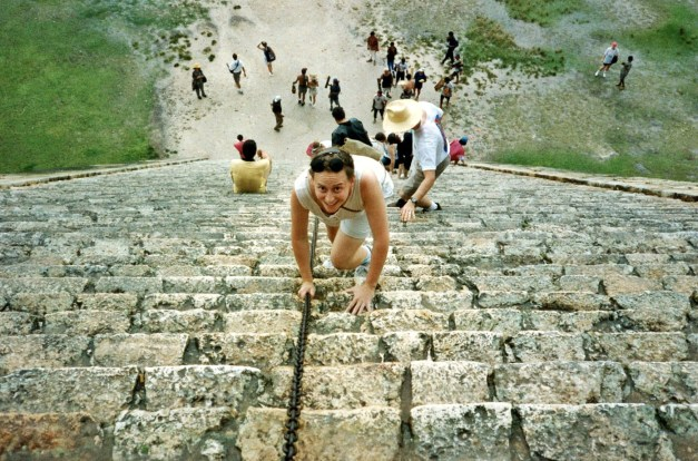 Jeanne recklessly following the crowd up to the top of El Castillo in the good old days