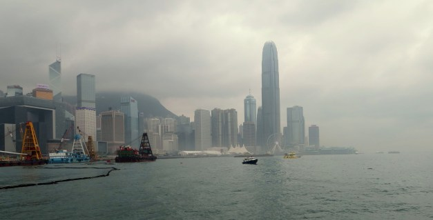 A view of Hong Kong, the island, from Kowloon in the overcast gloom. This is pretty much from the place in Kowloon where Lars's museum is currently under construction.