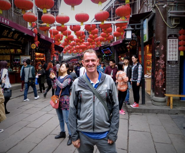 Mark at the entrance to Ciqikou Ancient Town