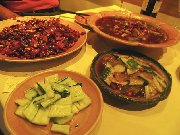 One other highlight was dinner at Sichuan Citizen. Along with a modest cucumber dish, we had a chicken dish that was at least 80 percent peppers, bullfrog in hot pepper sauce, and crispy jelly fish. Seriously.