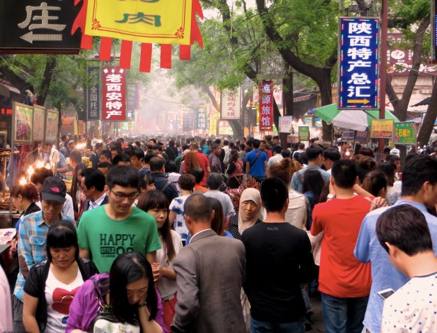The street scene in the Muslim Quarter. It's often surprising just how many enormous crowds you can see in China.