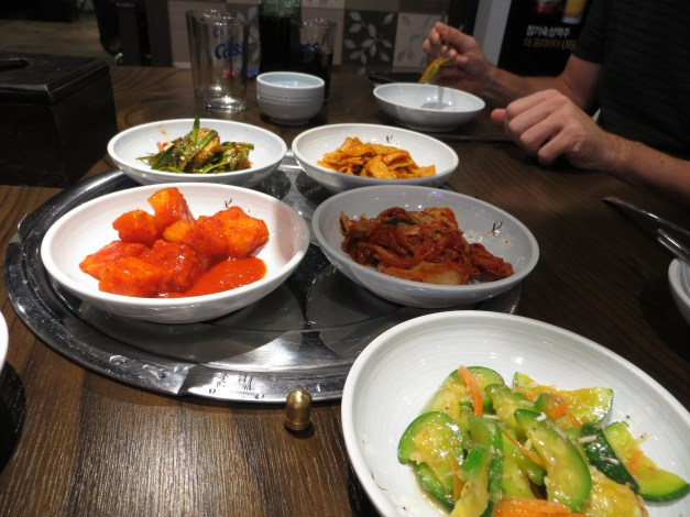 One of our first Korean meals as we were still getting used to the large number of fascinating side dishes that come with every meal.