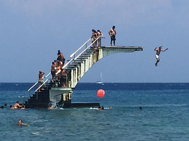 The beach in Rhodes Town includes this diving platform just offshore. And yes, Mark & I both jumped off that 20- or 25-foot platform into the Mediterranean. Sweet!