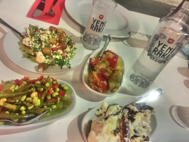 Turkish mezzes and Raki, an anise-flavored distilled beverage that goes perfectly with Turkish food. It took us a couple days to find this perfect meal, but we knew if we worked at it we'd get there eventually.