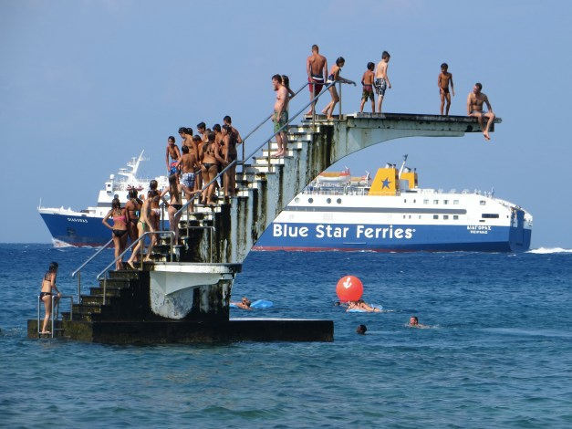 Another shot of the diving tower, with one of the big ferries that were constantly plying the waters