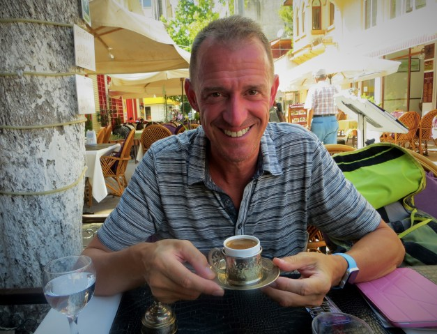 Mark loves his Turkish coffee, thick enough to eat with a spoon