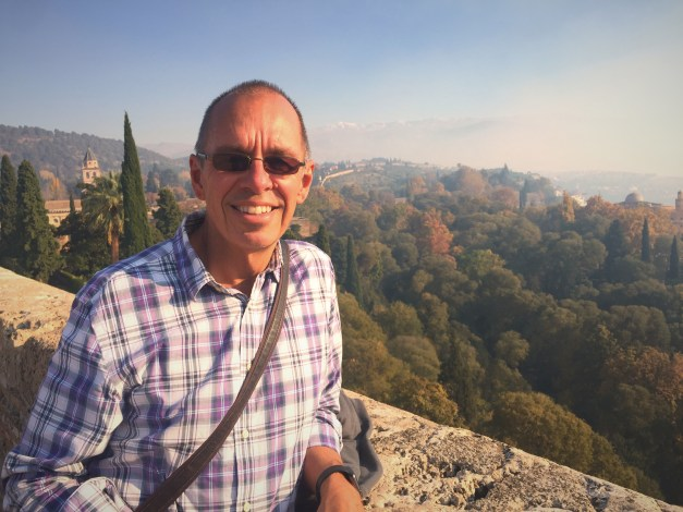 Up at the Alhambra with fall colors and the snow-capped Sierra Nevadas in the background