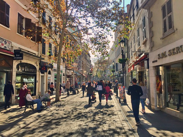 A pedestrian shopping street in Gibraltar