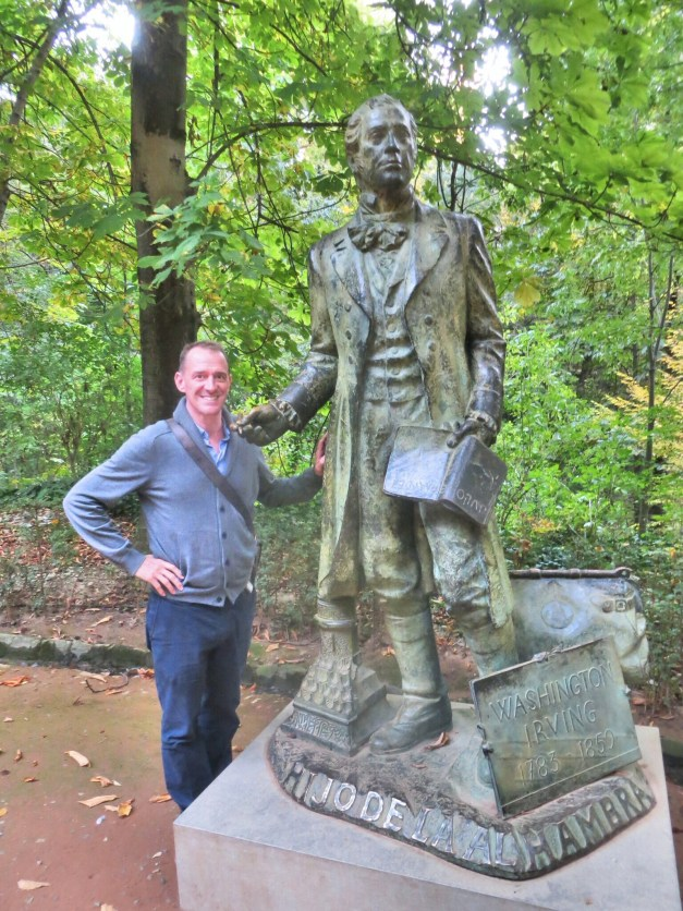 """In 1832 Washington Irving published """"Tales of the Alhambra"""" after spending some months in Granada. Today this statue and a number of plaques around the buildings came as a bit of a surprise to us."""