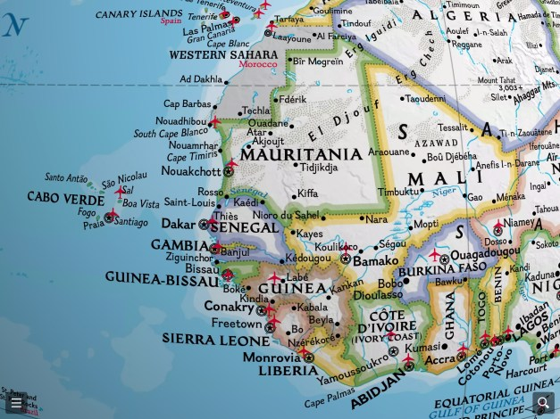West Africa, showing The Gambia surrounded by Senegal. Notice the vertical line on the right, the Prime Meridian, showing just how far west these countries are.
