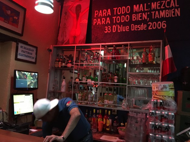 "A friendly local bar in Juchitán. The sign above the door translates something like ""For everything bad, mezcal; for everything good, the same thing."" Works for me!"