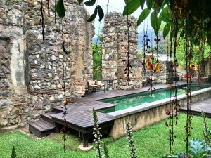More of the old church ruins at our hotel with a tiny swimming pool. Sitting on the grounds with my Kindle was a favorite afternoon activity.
