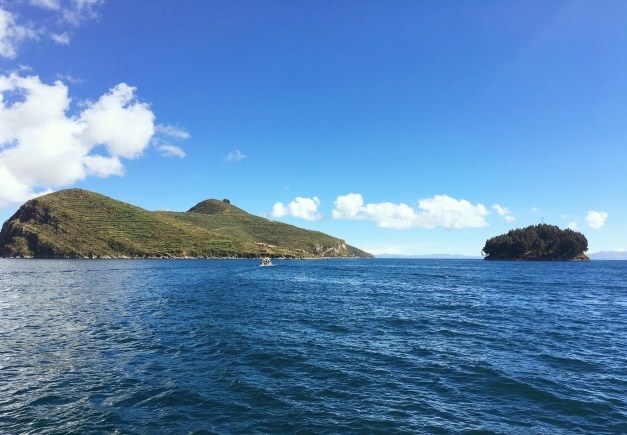 That's Isla del Sol on the left. We were excited at the prospect of hiking across the top of it.