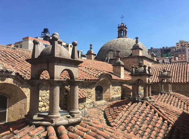 Looking across the roof of Iglesia San Francisco in central La Paz