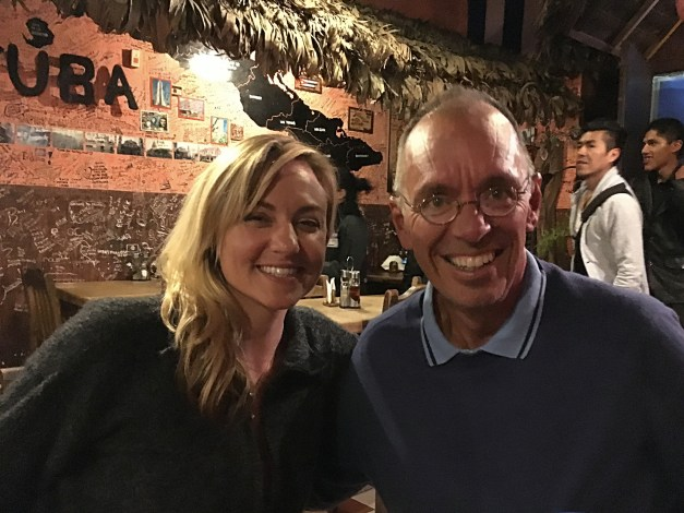 On our last night in La Paz we met up with old friends from Copacabana, Law and Meg (pictured here with Jim)