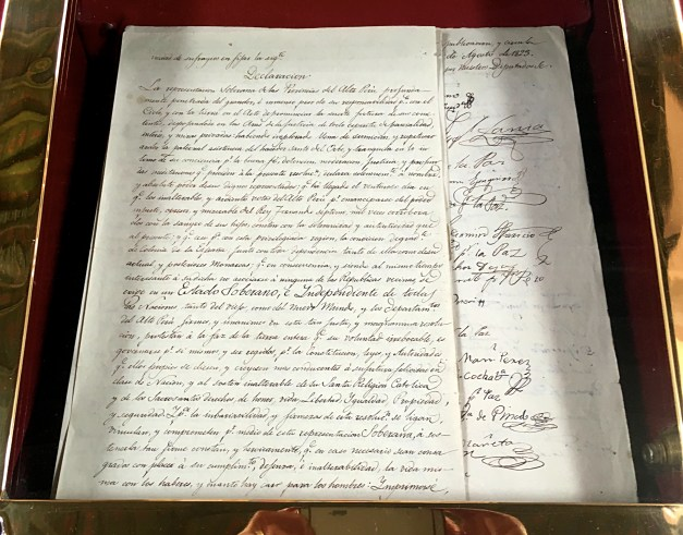 Bolivia's Declaration of Independence, signed here in Sucre in 1825