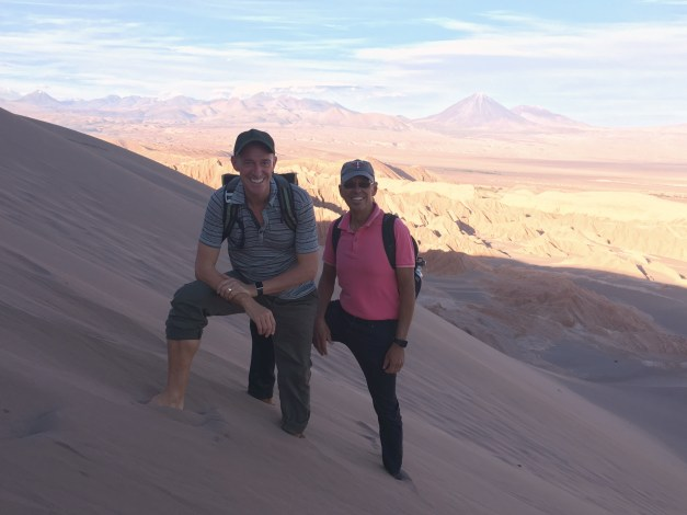 Here we are on the edge of a steep sand dune in Valley of the Moon, ankle-deep in the softest sand you've ever felt. Further down people were sand surfing, but we left that to the kids.