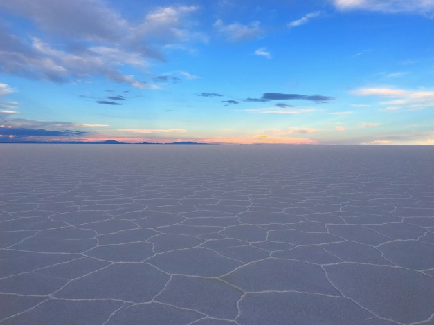 Sunset across the Uyuni Salt Flats