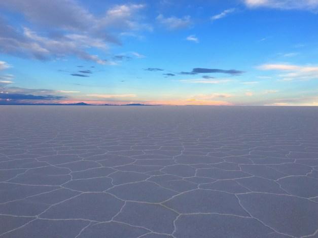 Sunset across the Uyuni Salt Flats