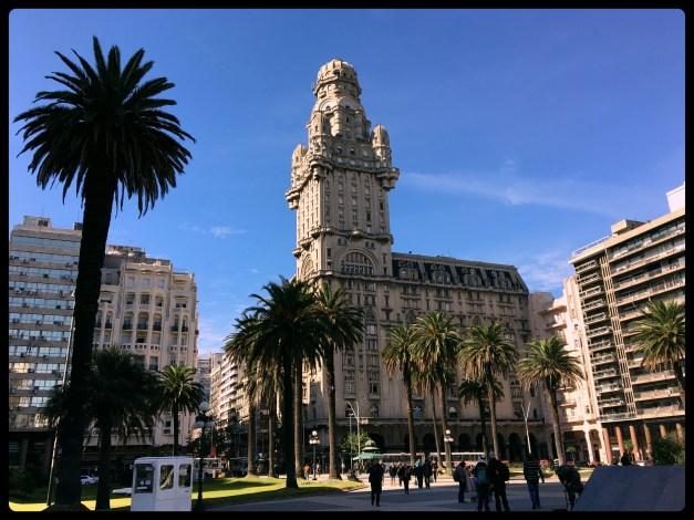 An iconic site in Montevideo is this great tower just across from Independence Plaza