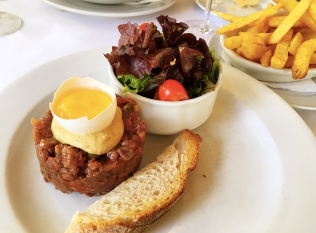 Lunch one day, not far from the Casa Rosada, was at a French bistro. This was my steak tartare - raw meat, strong mustard, egg yolk - that was every bit as good as what we'll be having in Paris.