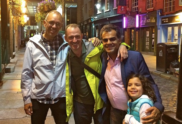Jim, Mark, Ajay, and Lucia celebrating Ajay's 50th birthday in Dublin