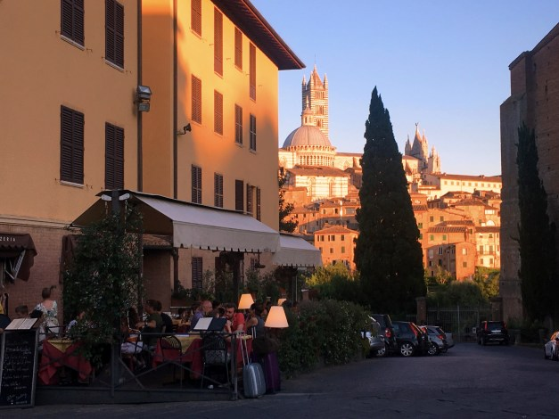 Siena in the light of a setting sun
