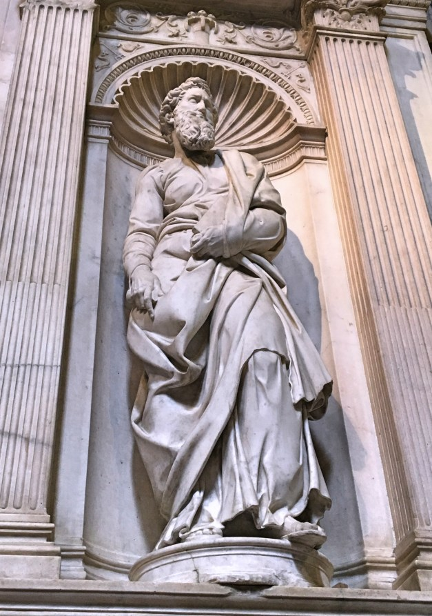 St. Paul, standing outside the Piccolomini Library, was sculpted by a young Michelangelo in the early 16th century, one of four of his statues in the Duomo. It is said that the face is a self portrait.