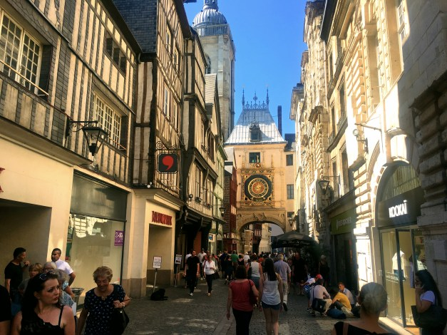 Rue du Gros Horologe (Great Clock Street) was the main street in Medieval Rouen. The one-handed Great Clock itself dates from the 14th century and shows the time, day of the week, and phase of the moon. Not bad for a mechanism that old.