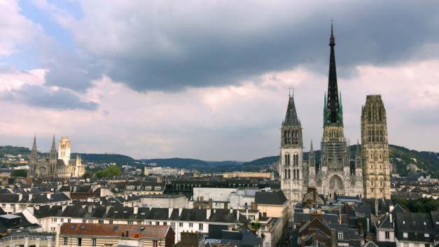 A view of Rouen and the Cathedral with it's striking