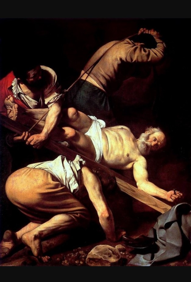 "Caravaggio's ""Crucifixion of St. Peter"", hanging in the Basilica of Santa Maria del Popolo, is one of many great paintings strewn about churches in Rome"