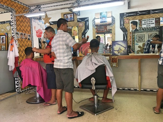We get haircuts all over the world. Here's Apia's barbershop where mark paid a grand total of about $2.60 for his current haircut.
