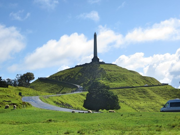 One Tree Hill in Cornwall Park with a big obelisk marking … something
