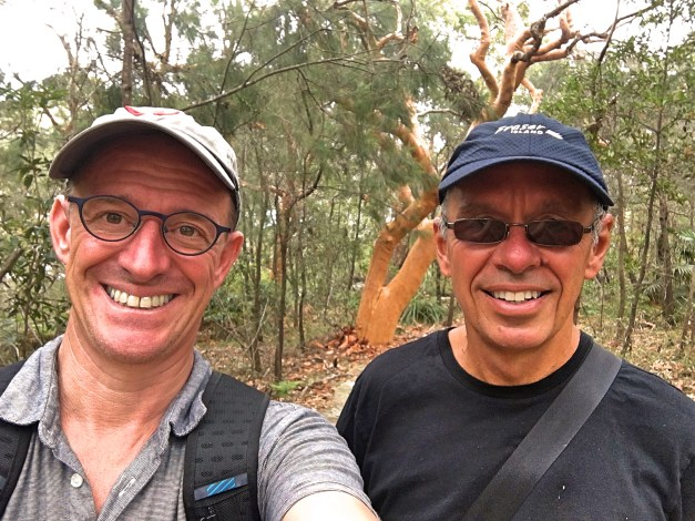 Selfie time on the Manly Scenic Walkway. Note again that bark-less tree behind us.