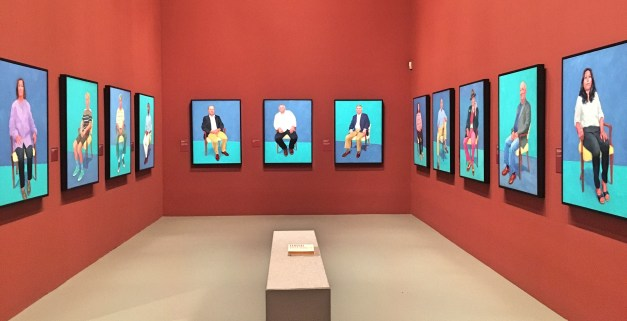 This is a small portion of one piece of the Hockney exhibit titled 82 Portraits and 1 still life, all people Hockney knows, done in separate  three-day periods between 2013 and 2016. Impressive output for someone well into his 70s.