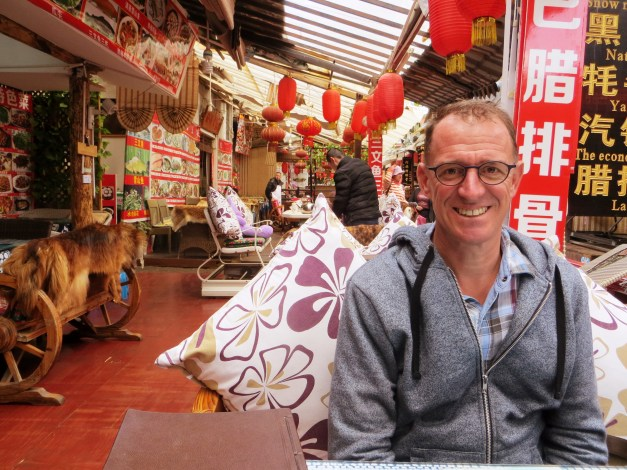 Mark at lunch in the small town of Shuhe near Lijiang
