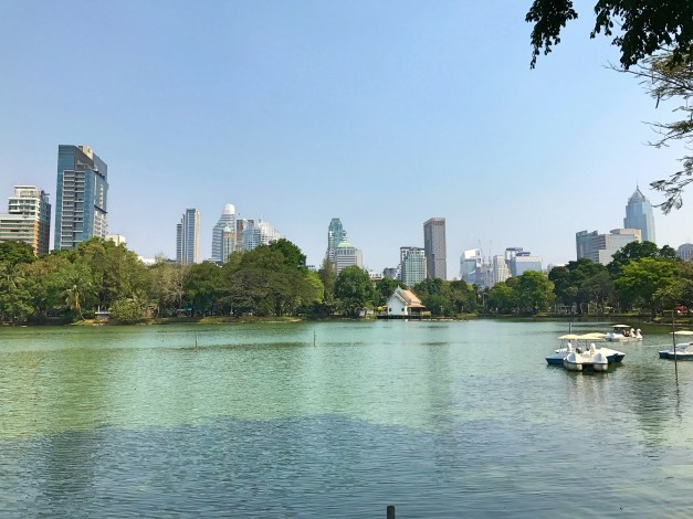 The lake at Lumpini Park. Don't let this fool you: Bangkok is about the least green city I've ever been to. This one park, though was a welcome oasis.