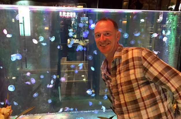 At the entrance to that cool bar was a fish tank full of jellyfish. Seriously, those are live jellyfish Mark is posing with.
