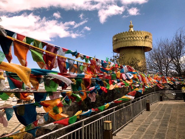 Up on the temple with Buddhist prayer flags that we saw all over Bhutan flying in the breeze and the world's largest prayer wheel in the background