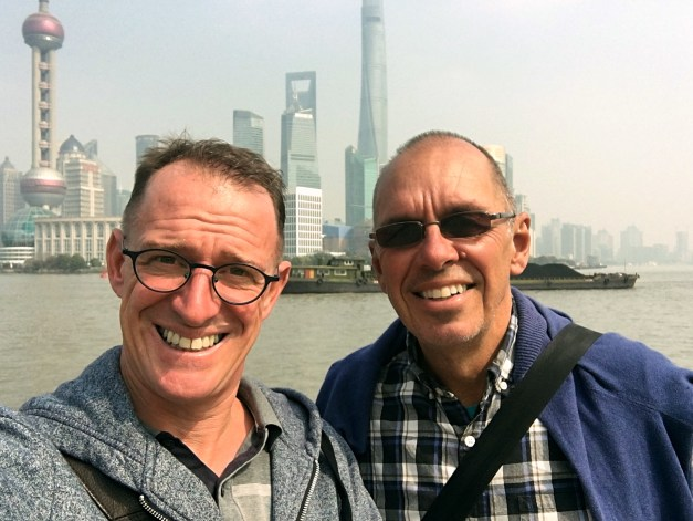 Here we are on the Bund, with the skyscrapers of Pudong on the east side of the Huangpu River