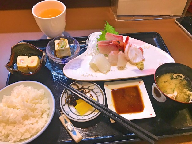 We each had one of these little sashimi sets for lunch one day, an amazing deal at just $9. We often struggle with language barriers at small restaurants in Japan but if you can find sashimi on the menu you're set.