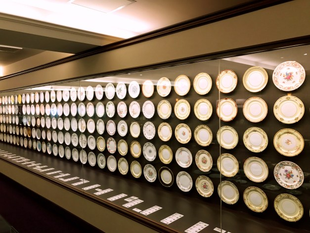 A wall of Noritake china from the entire 20th century. We loved looking at individual designs and seeing how well they corresponded to the art and culture of the time.