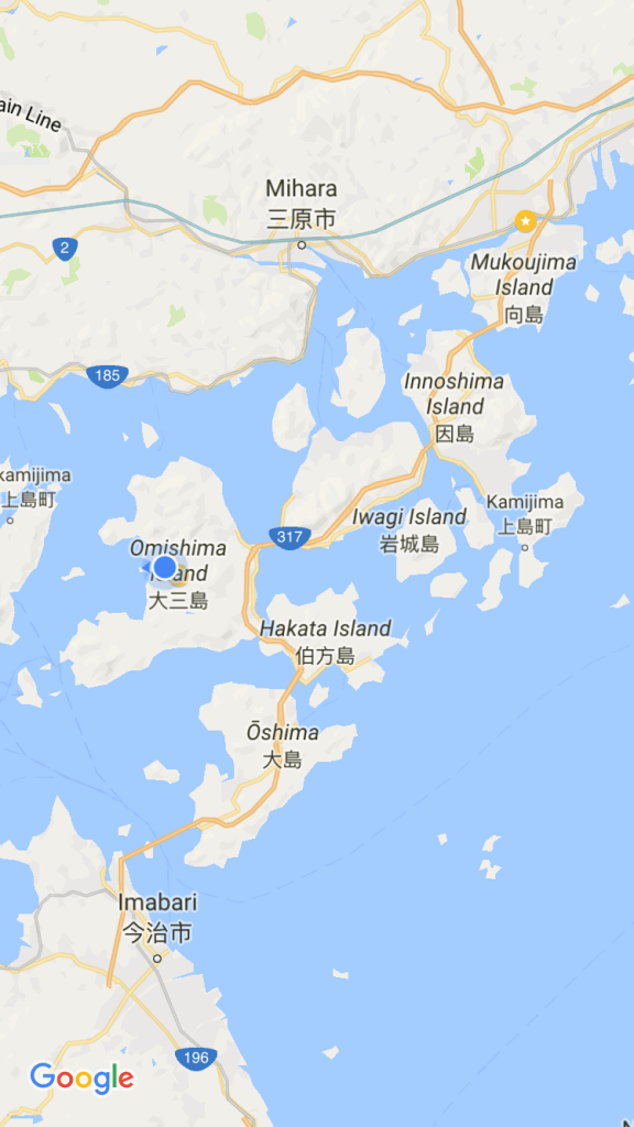 In case you were wondering, these are the islands we hopped across, connecting Shikoku to Honshu. The blue dot is where we stayed en route and the yellow star at the top was our hotel the last night, finally back on Honshu.