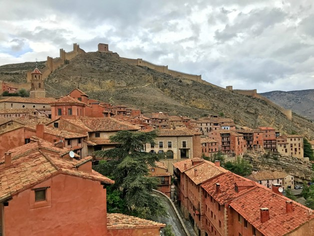 A bit of the town of Albarracín along with the protecting walls and the Walkway Tower looming over all of it. The tower dates from the 9th century while the walls are a more modern 11th or 12th century construction.