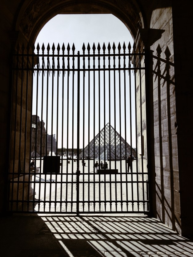 An artsy view of I.M. Pei's Pyramid at the Louvre