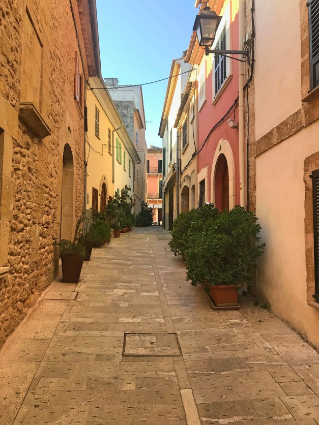 The street from our hotel up to the main square. Alcúdia is a small town, but the streets and main square were beautiful.